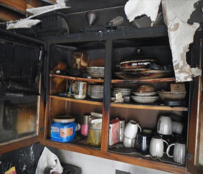 fire damage in kitchen cabinets